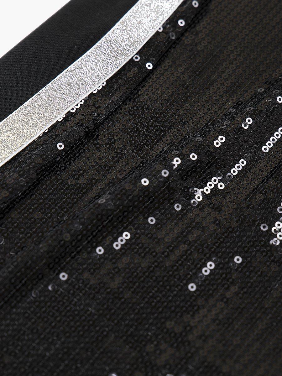 Юбка прямого силуэта с лампасами, цвет: черный
