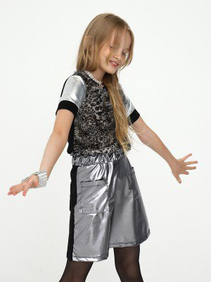 Юбка трапеция с карманами для девочки
