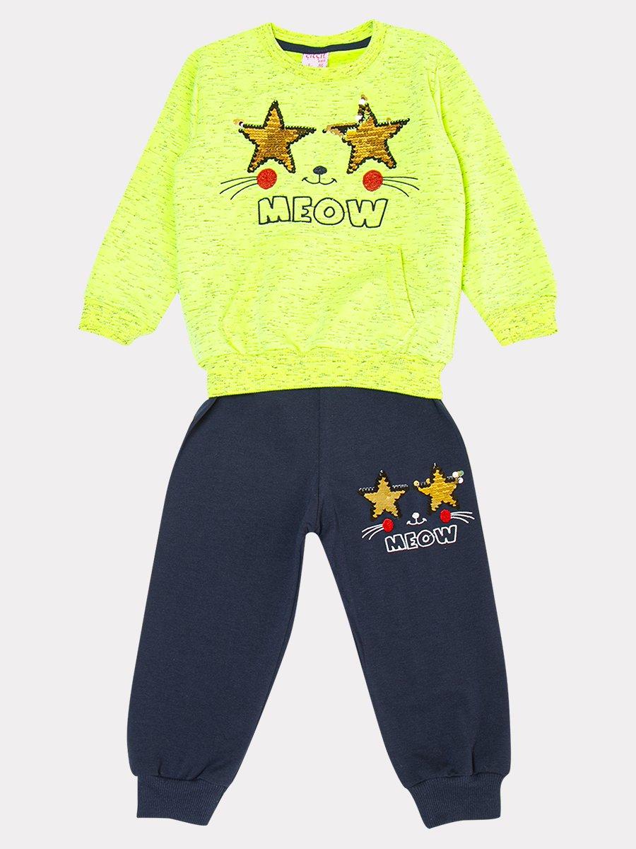 Комплект: толстовка и штанишки со средней посадкой, цвет: неон зеленый