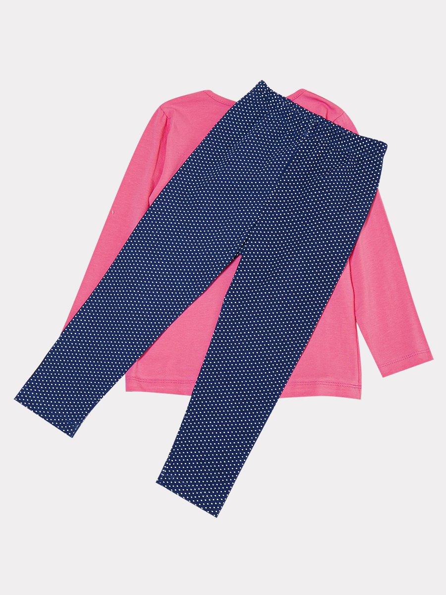 Комплект:лонгслив и лосины со средней посадкой, цвет: розовый