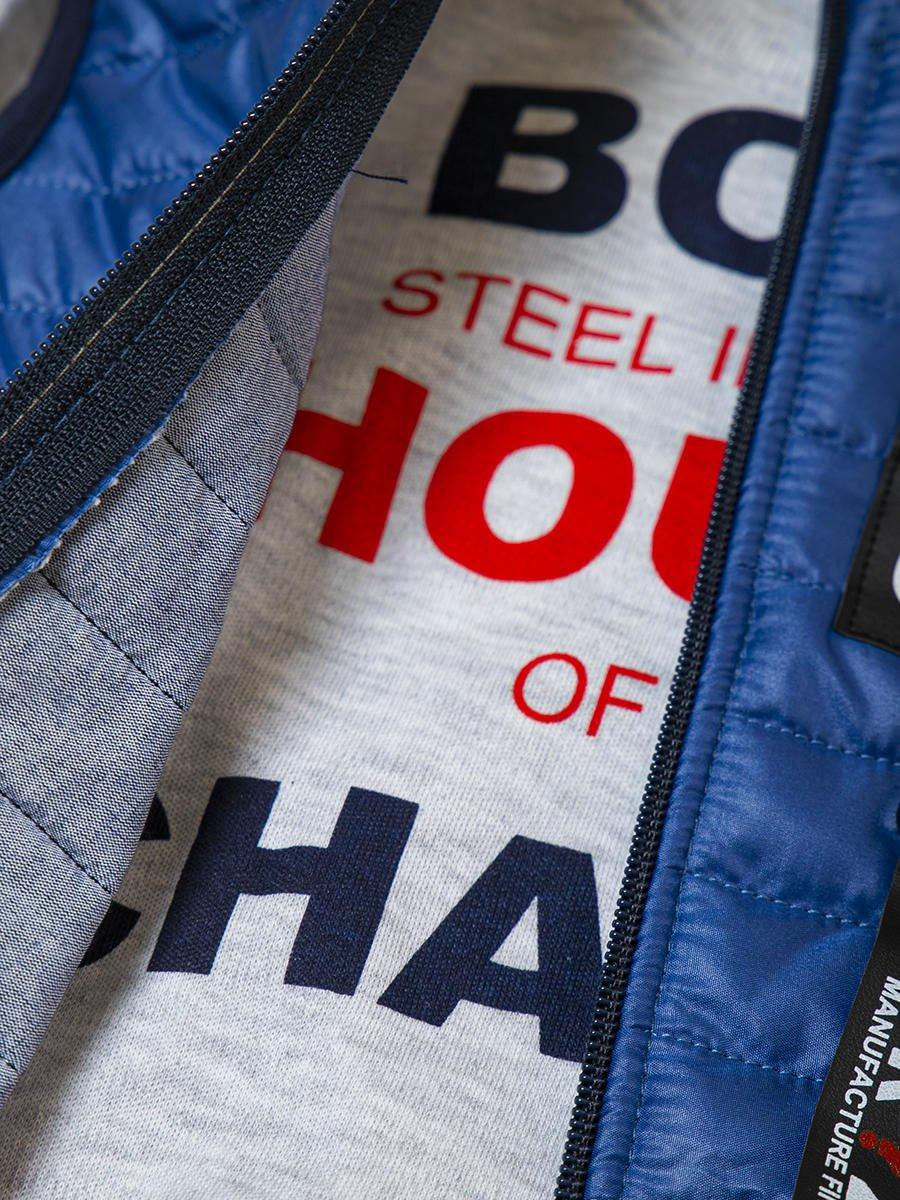 Комплект для мальчика:лонгслив, штанишки и жилет на синтепоне, цвет: деним