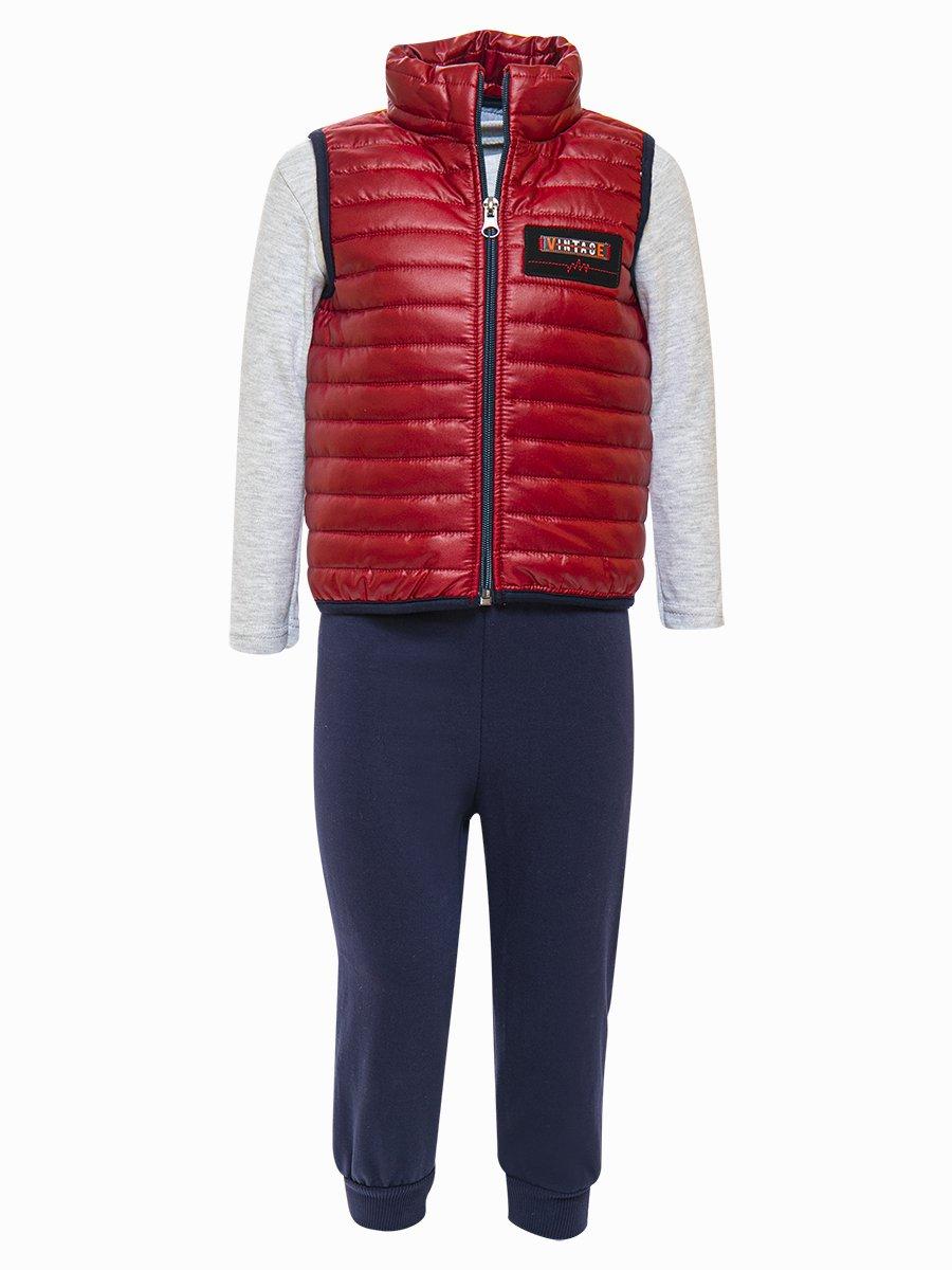 Комплект для мальчика:лонгслив, штанишки и жилет на синтепоне, цвет: бордовый