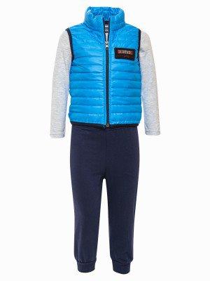 Комплект для мальчика:лонгслив, штанишки и жилет на синтепоне
