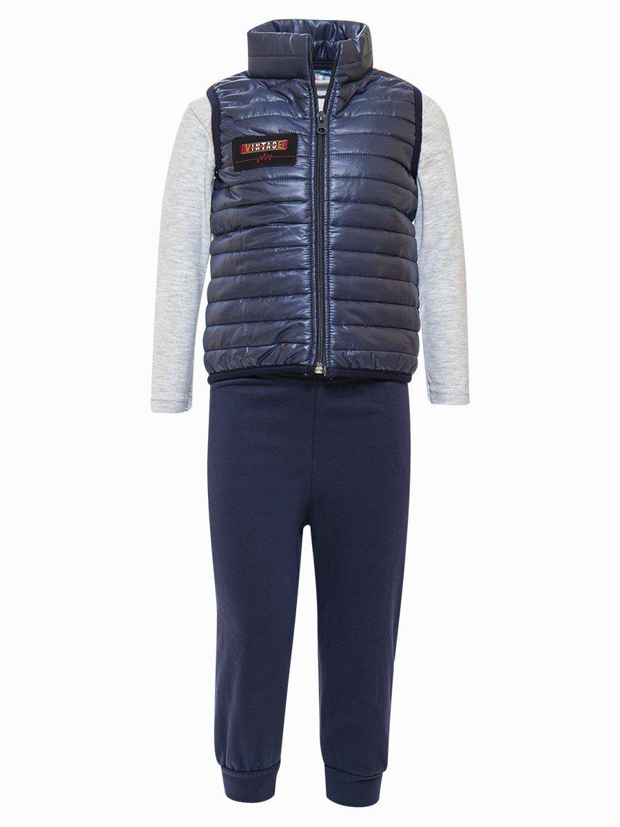 Комплект для мальчика:лонгслив, штанишки и жилет на синтепоне, цвет: темно-синий