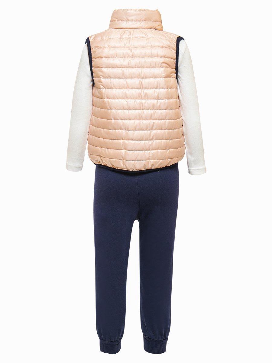 Комплект для девочки:лонгслив, штанишки и жилет на синтепоне