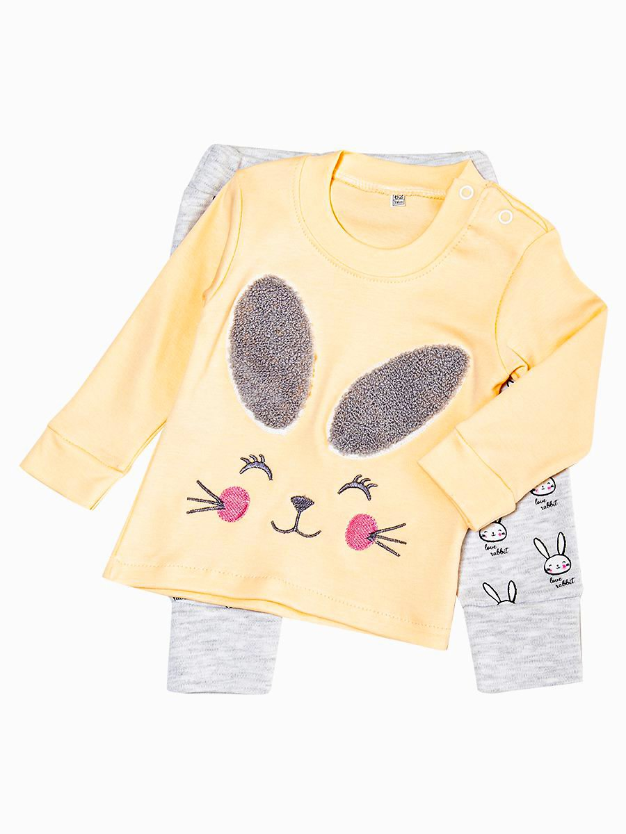 Комплект для девочки: лонгслив и штанишки, цвет: пудра