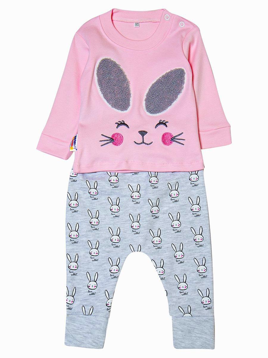Комплект для девочки: лонгслив и штанишки, цвет: светло-розовый