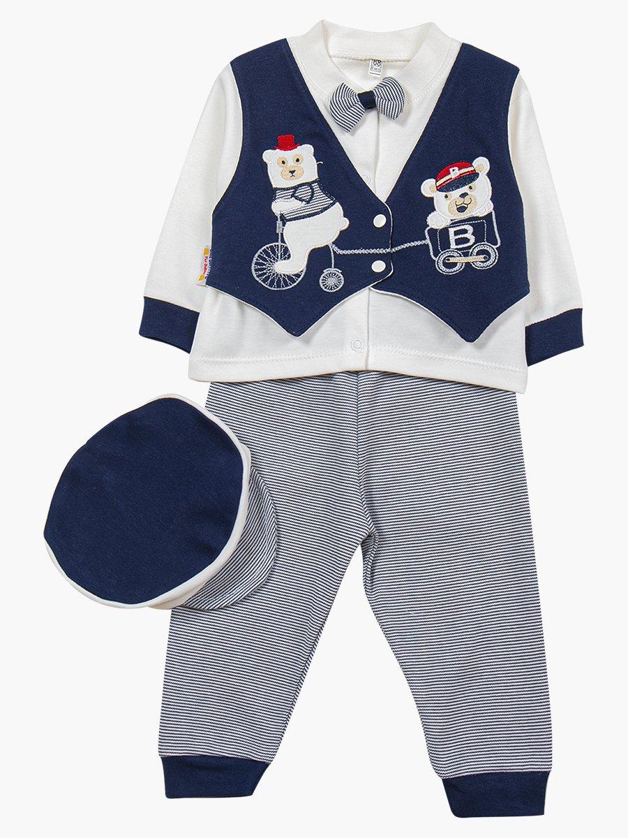 Комплект для мальчика: кофточка, штанишки и шапочка, цвет: темно-синий