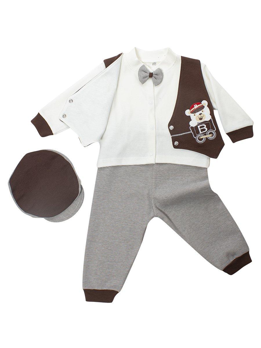 Комплект для мальчика: кофточка, штанишки и шапочка, цвет: коричневый