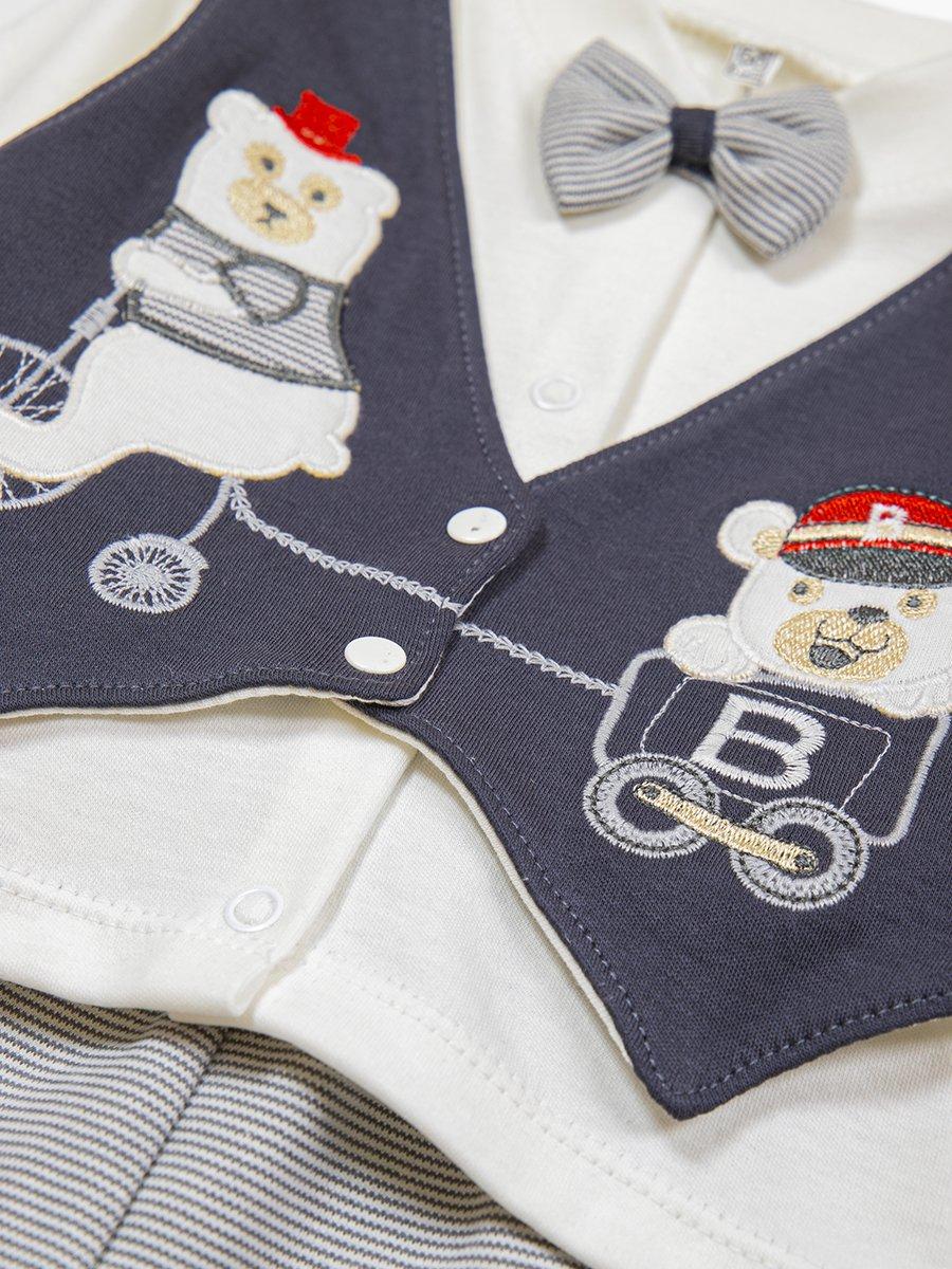 Комплект для мальчика: кофточка, штанишки и шапочка, цвет: темно-серый