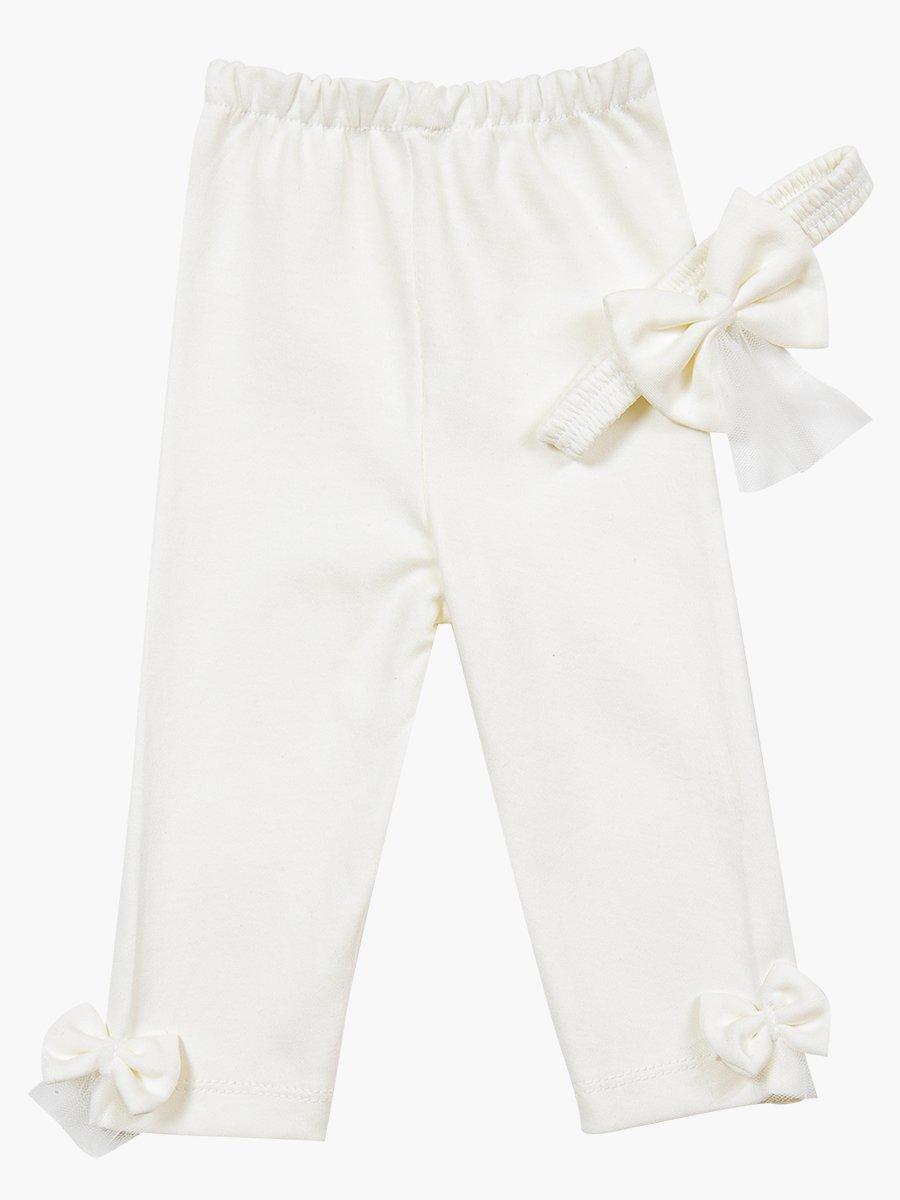 Комплект для девочки: туника, лосины и повязка на голову, цвет: молочный