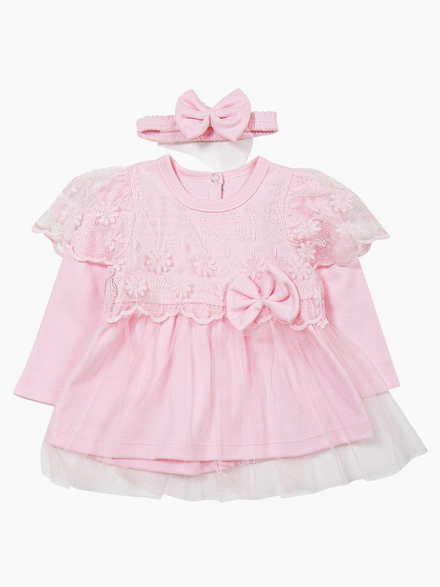 Комплект для девочки: туника, лосины и повязка на голову, цвет: светло-розовый
