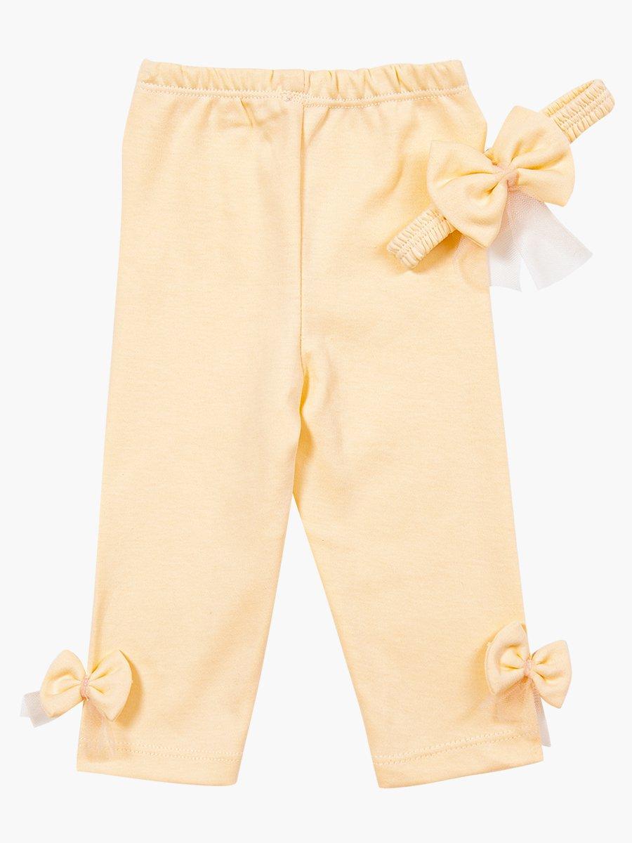 Комплект для девочки: туника, лосины и повязка на голову, цвет: пудра