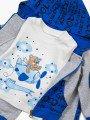 Комплект для мальчика: кофточка, толстовка и штанишки, цвет: синий