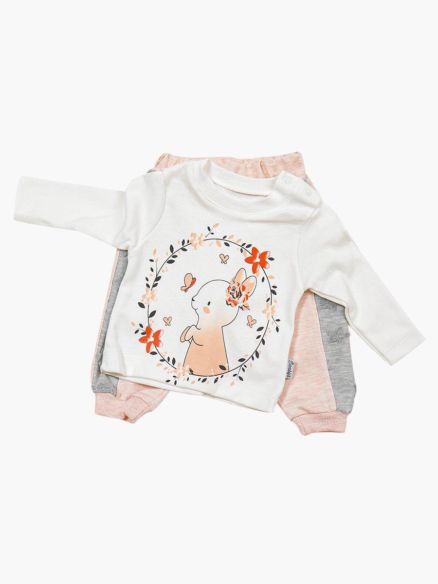 Комплект для девочки: кофточка, толстовка и штанишки, цвет: пудра