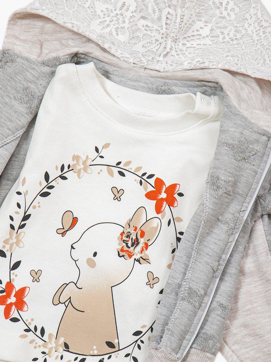 Комплект для девочки: кофточка, толстовка и штанишки, цвет: серый меланж