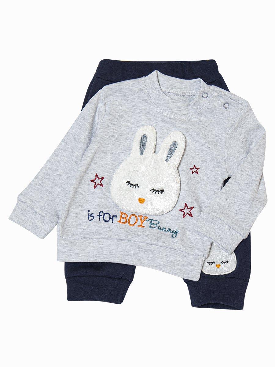 Комплект для мальчика: толстовка и штанишки, цвет: серый меланж