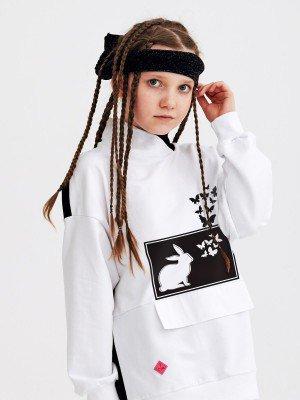 Толстовка оверсайз с воротником стойка для девочки