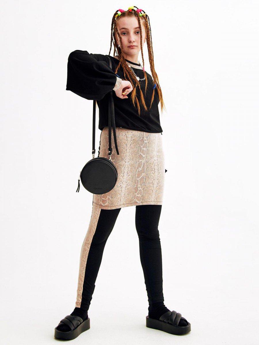 Комплект:свитшот и юбка прямого силуэта, цвет: черный