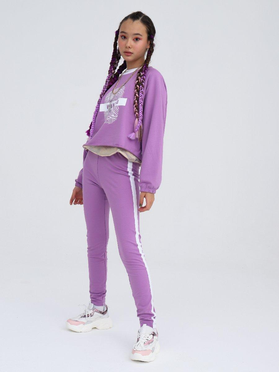 Костюм спортивный: свитшот укороченный и лосины, цвет: лиловый