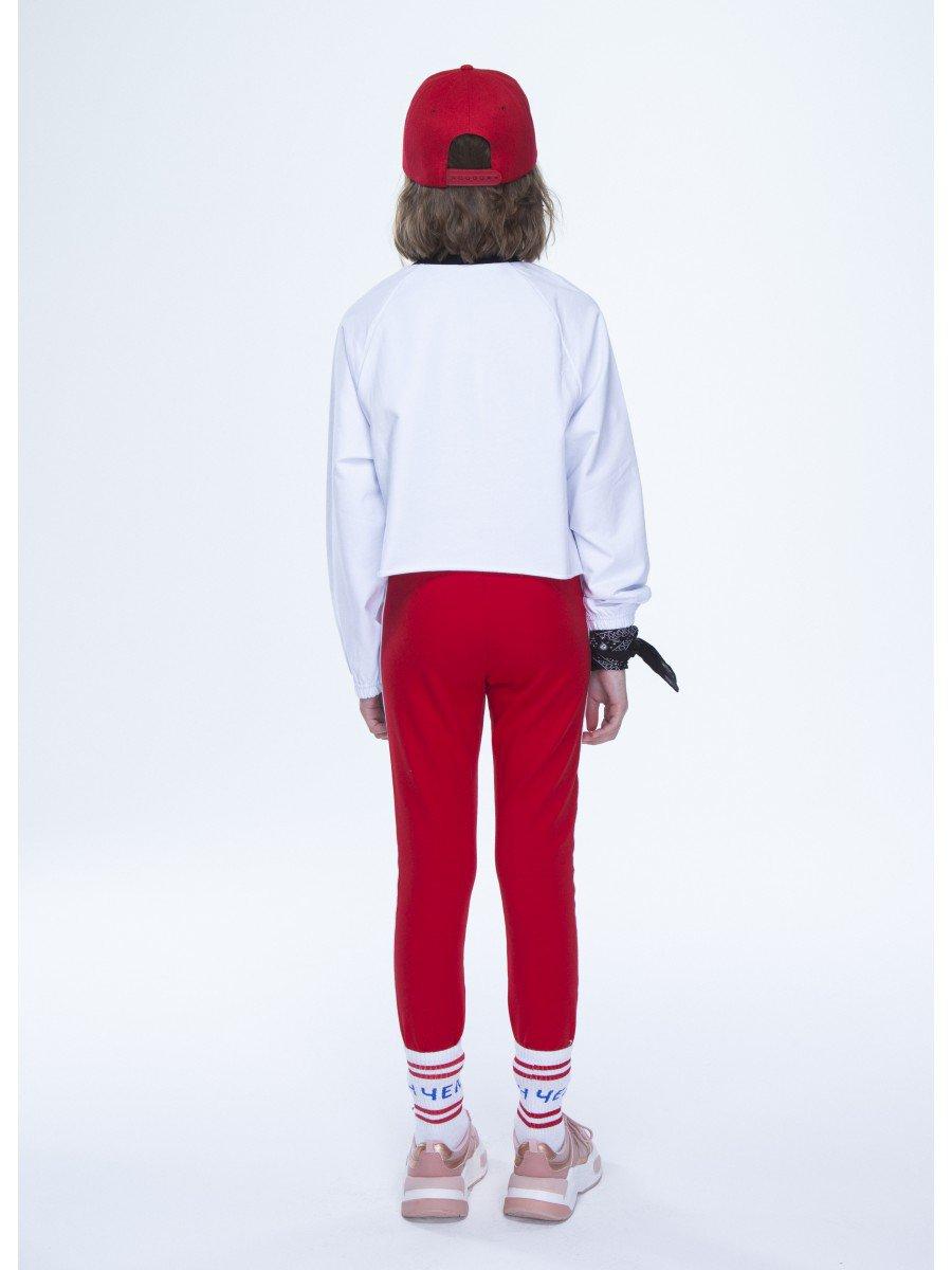 Костюм спортивный: свитшот укороченный и лосины, цвет: белый