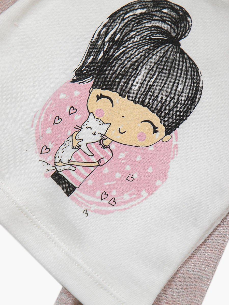 Комплект для девочки: лонгслив, толстовка и штанишки, цвет: пудра