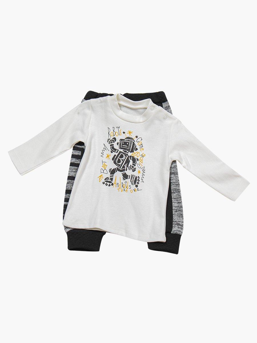 Комплект для мальчика: лонгслив, штанишки и жилет на синтепоне, цвет: серый меланж