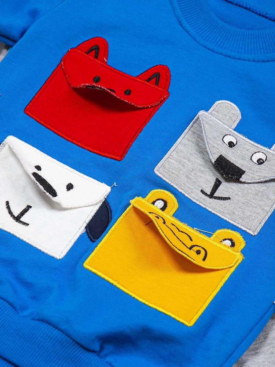 Комплект для мальчика: свитшот и штанишки, цвет: синий