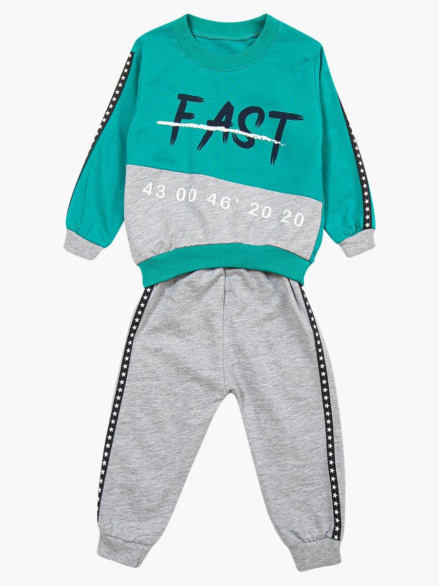 Комплект для мальчика: свитшот и штанишки, цвет: изумрудный