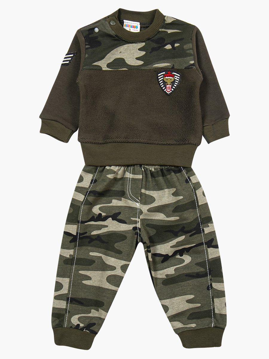 Комплект для мальчика: толстовка и штанишки, цвет: хаки