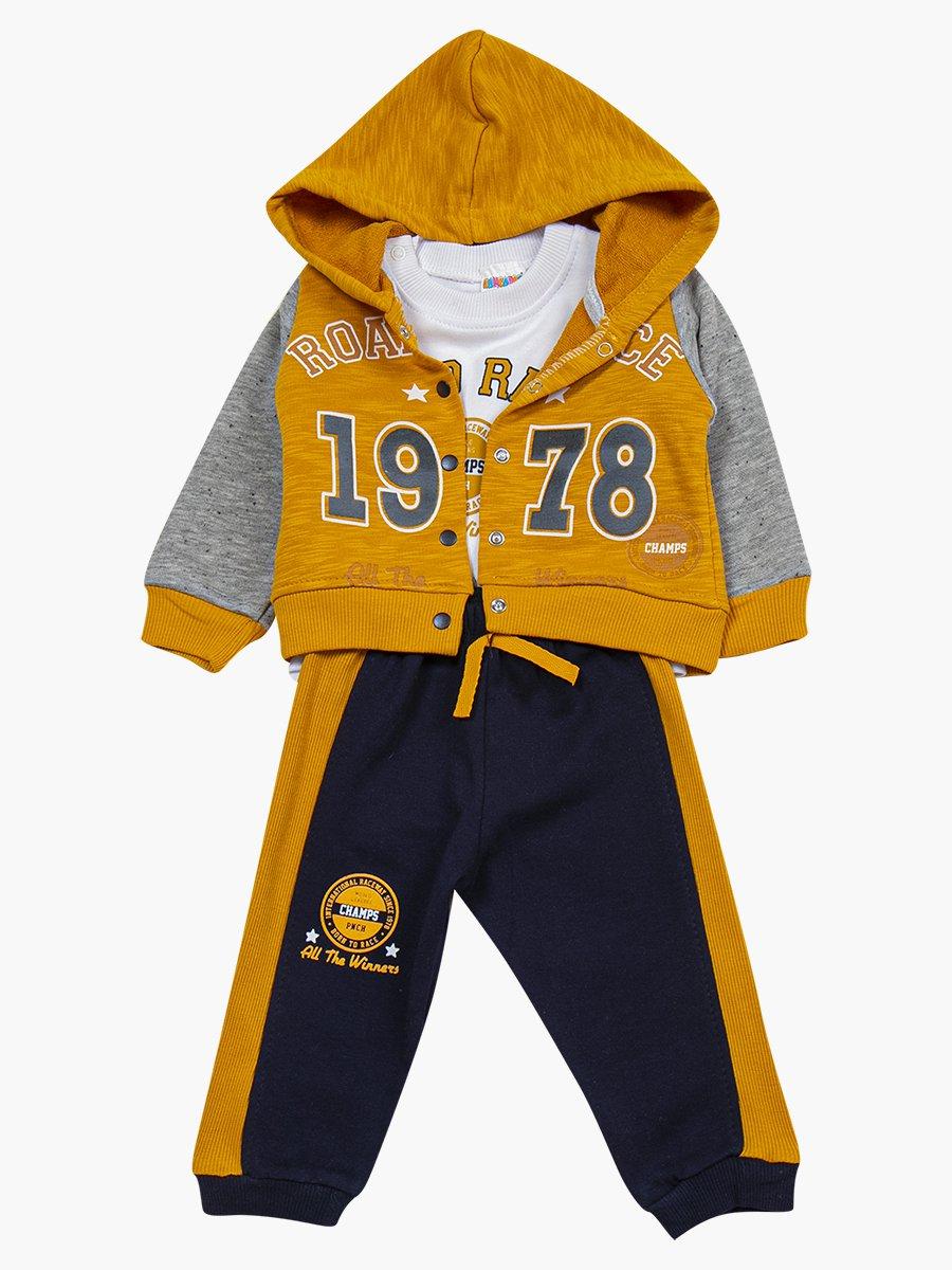 Комплект для мальчика: лонгслив, толстовка и штанишки, цвет: горчичный