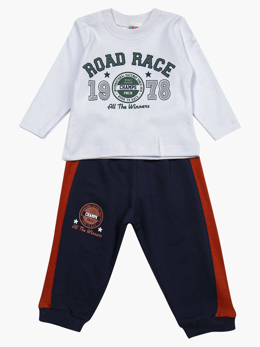 Комплект для мальчика: лонгслив, толстовка и штанишки, цвет: кирпичный