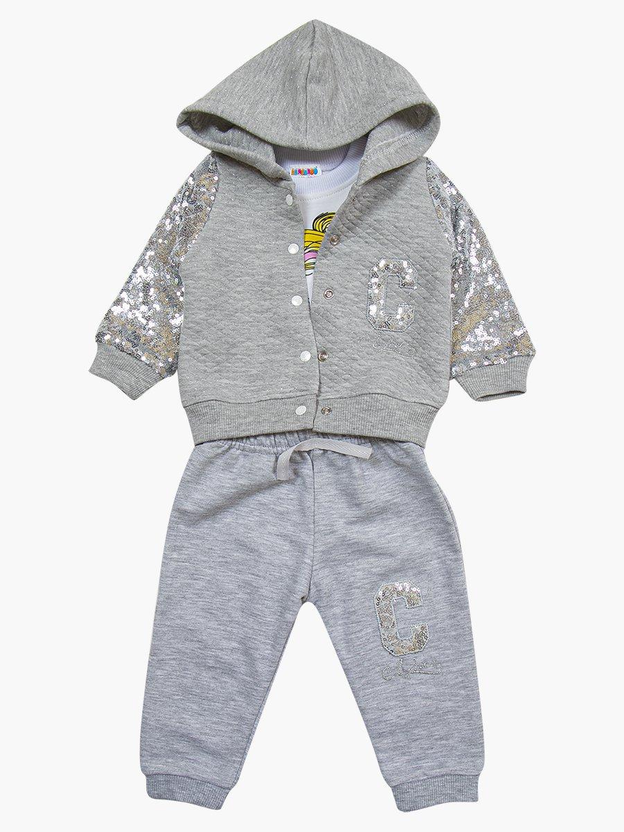 Комплект для девочки: лонгслив, толстовка и штанишки, цвет: серый меланж