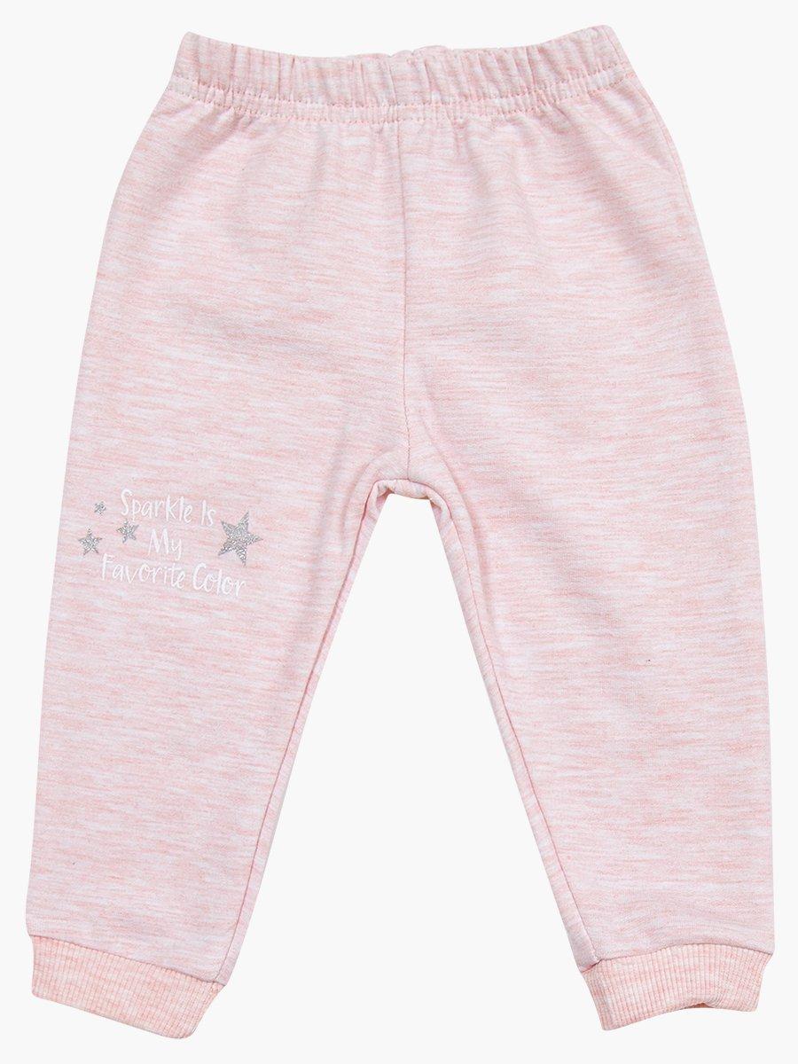 Комплект для девочки: лонгслив, толстовка и штанишки, цвет: светло-розовый