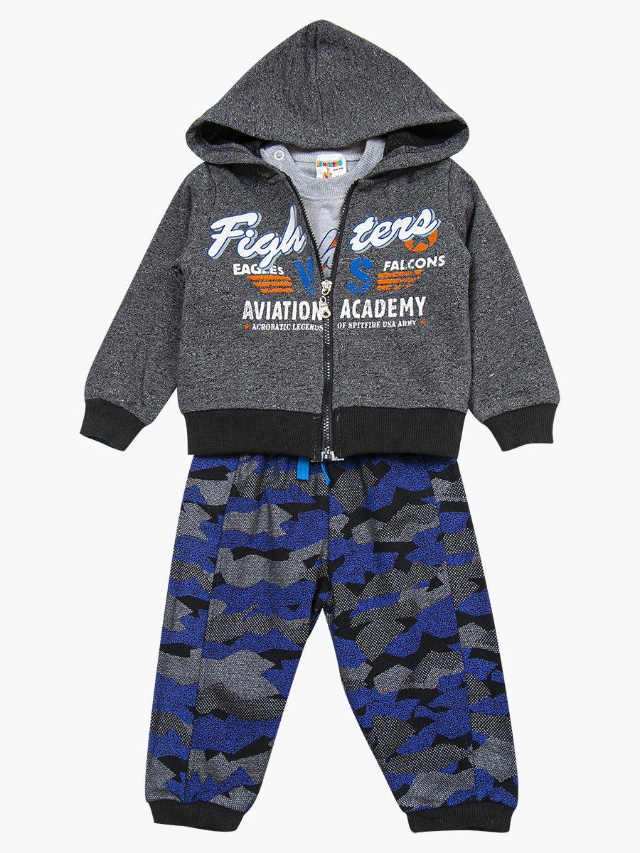 Комплект для мальчика: лонгслив, толстовка и штанишки, цвет: темно-синий