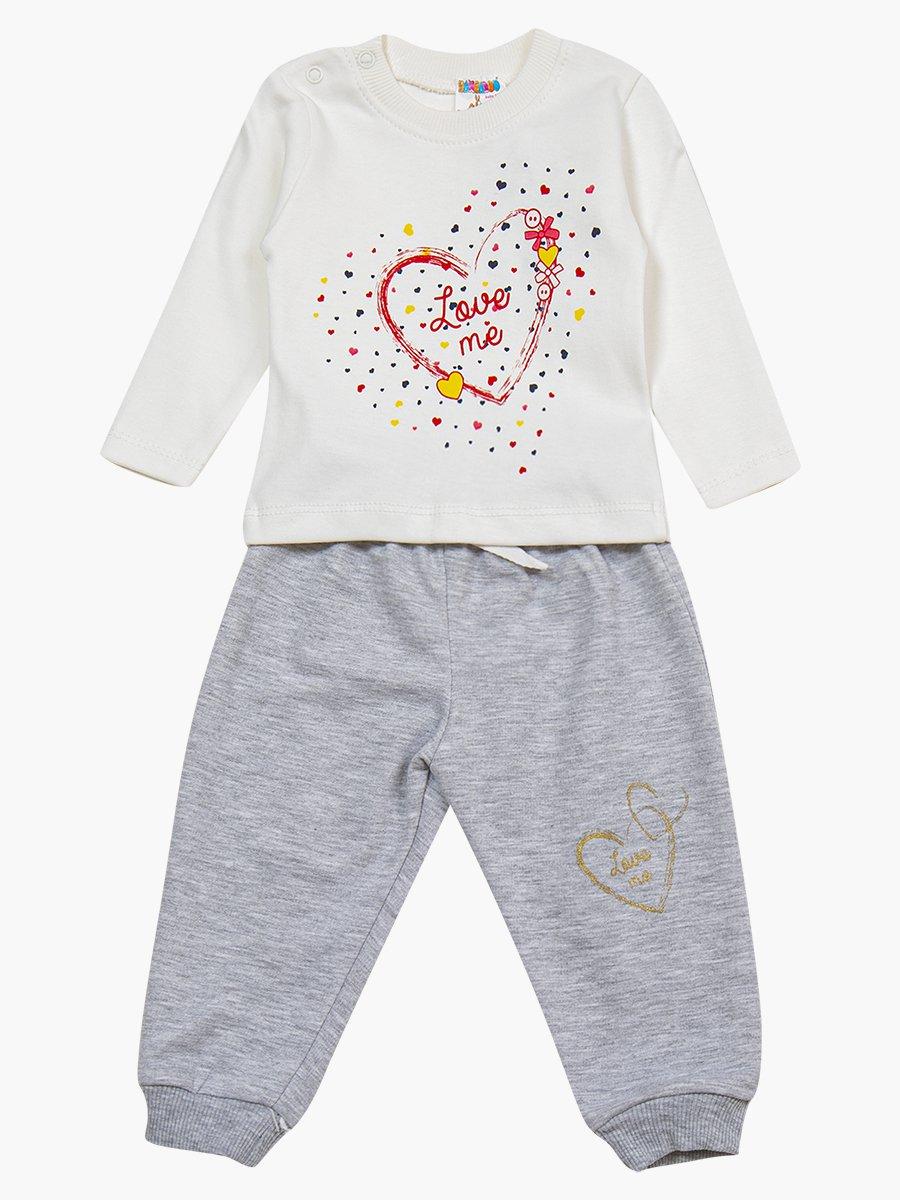 Комплект для девочки: лонгслив, толстовка и штанишки, цвет: молочный