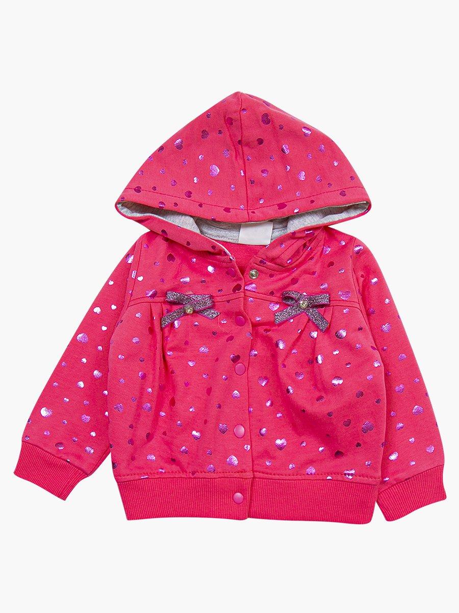 Комплект для девочки: лонгслив, толстовка и штанишки, цвет: розовый