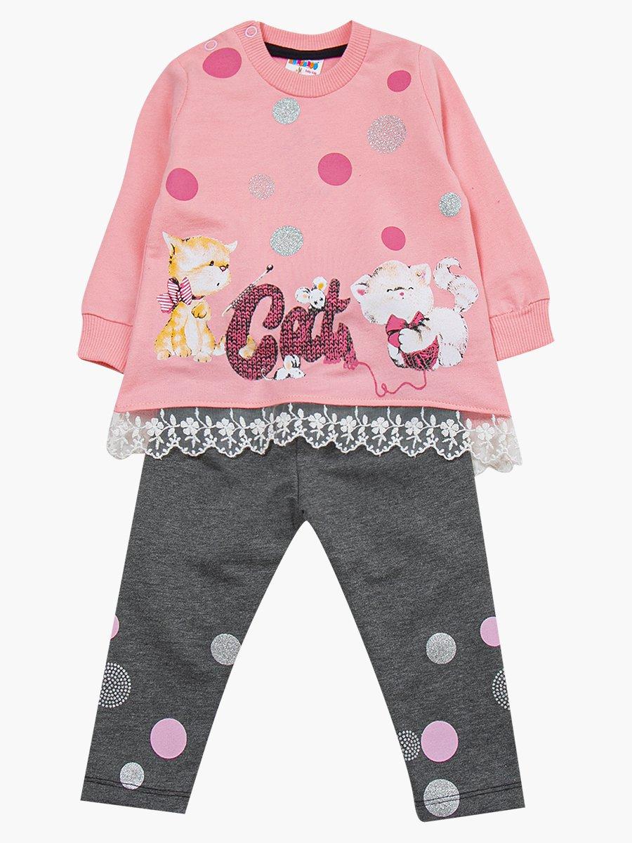 Комплект для девочки: туника и лосины, цвет: розовый