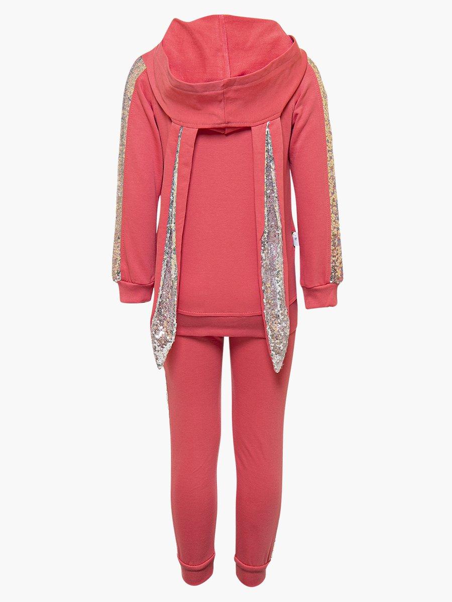 Комплект для девочки: толстовка и штанишки, цвет: коралловый