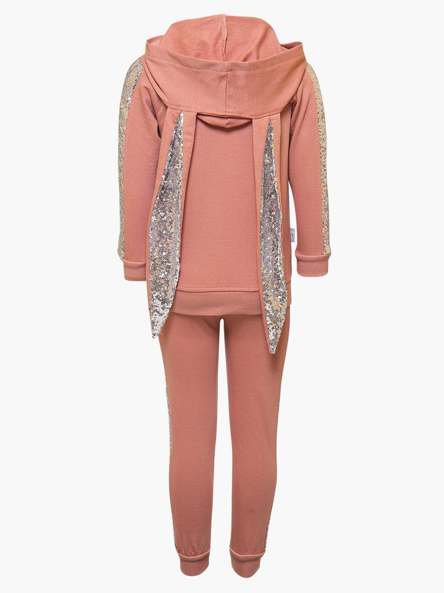 Комплект для девочки: толстовка и штанишки, цвет: персиковый