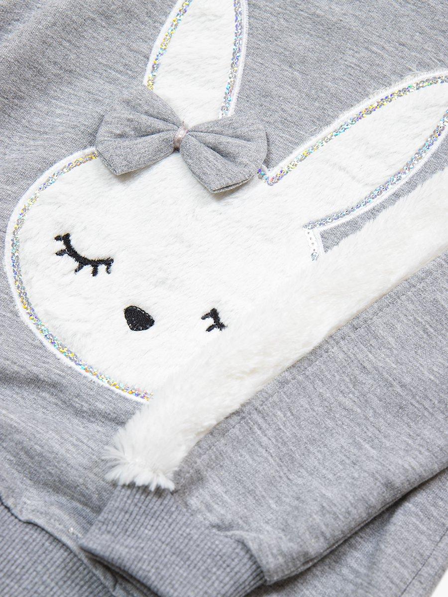Комплект для девочки: толстовка и штанишки, цвет: серый меланж