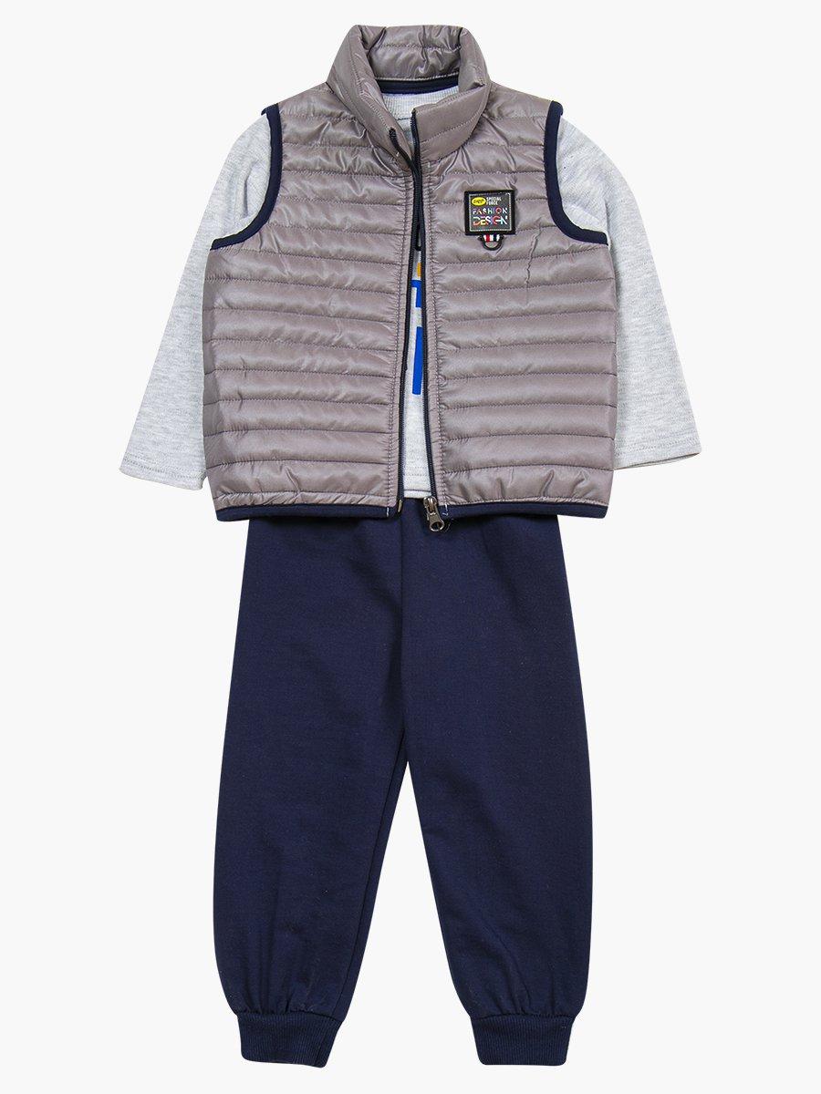Комплект для мальчика: лонгслив, штанишки и жилет на синтепоне, цвет: серый