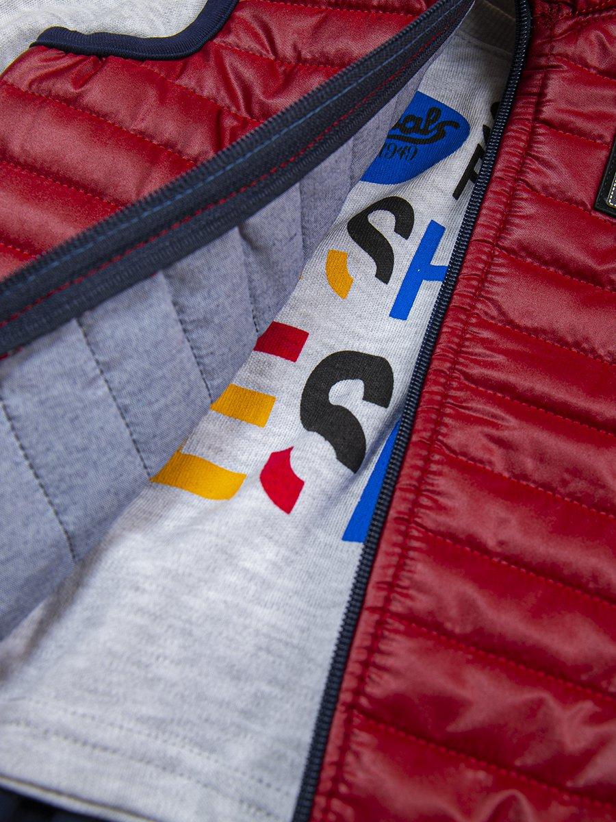Комплект для мальчика: лонгслив, штанишки и жилет на синтепоне, цвет: бордовый