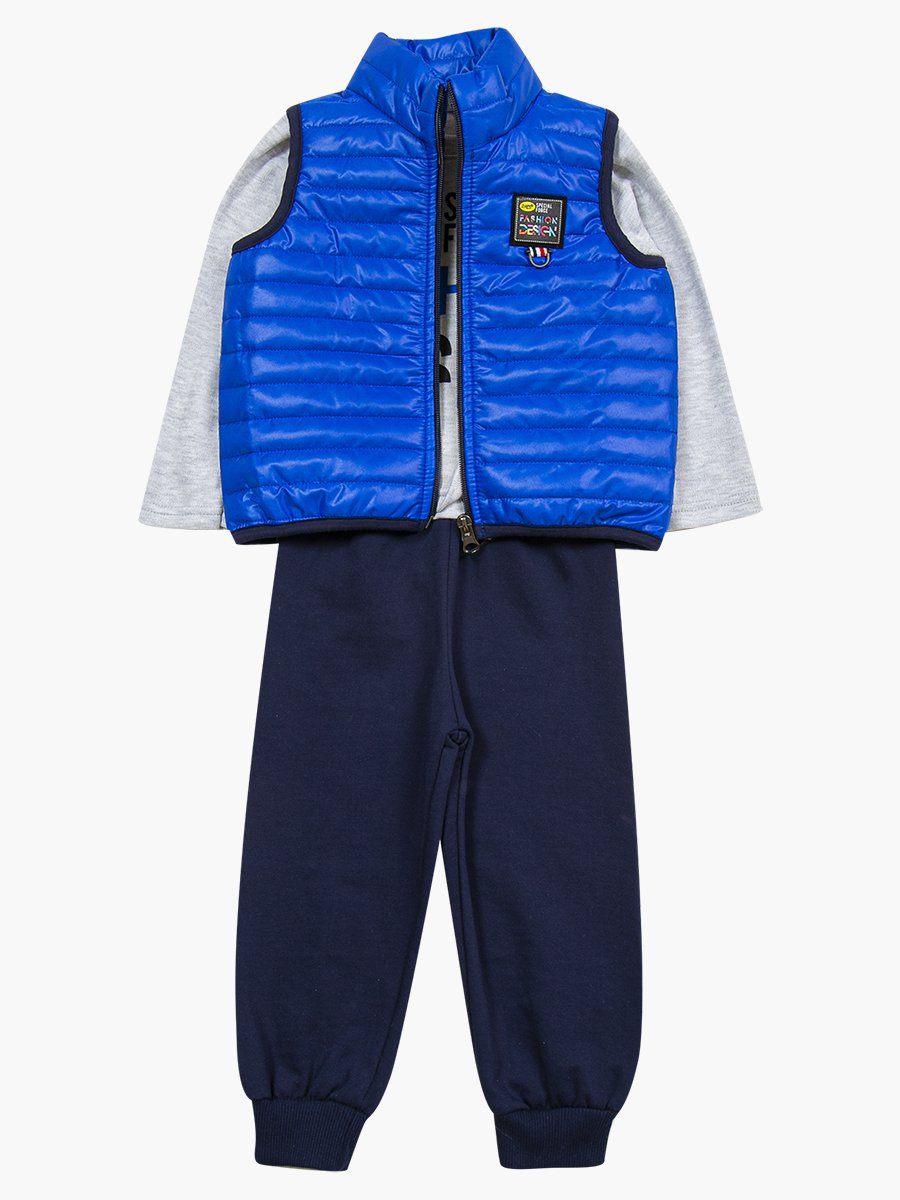 Комплект для мальчика: лонгслив, штанишки и жилет на синтепоне, цвет: синий