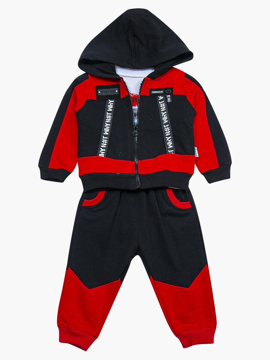 Комплект для мальчика: лонгслив, толстовка и штанишки, цвет: красный