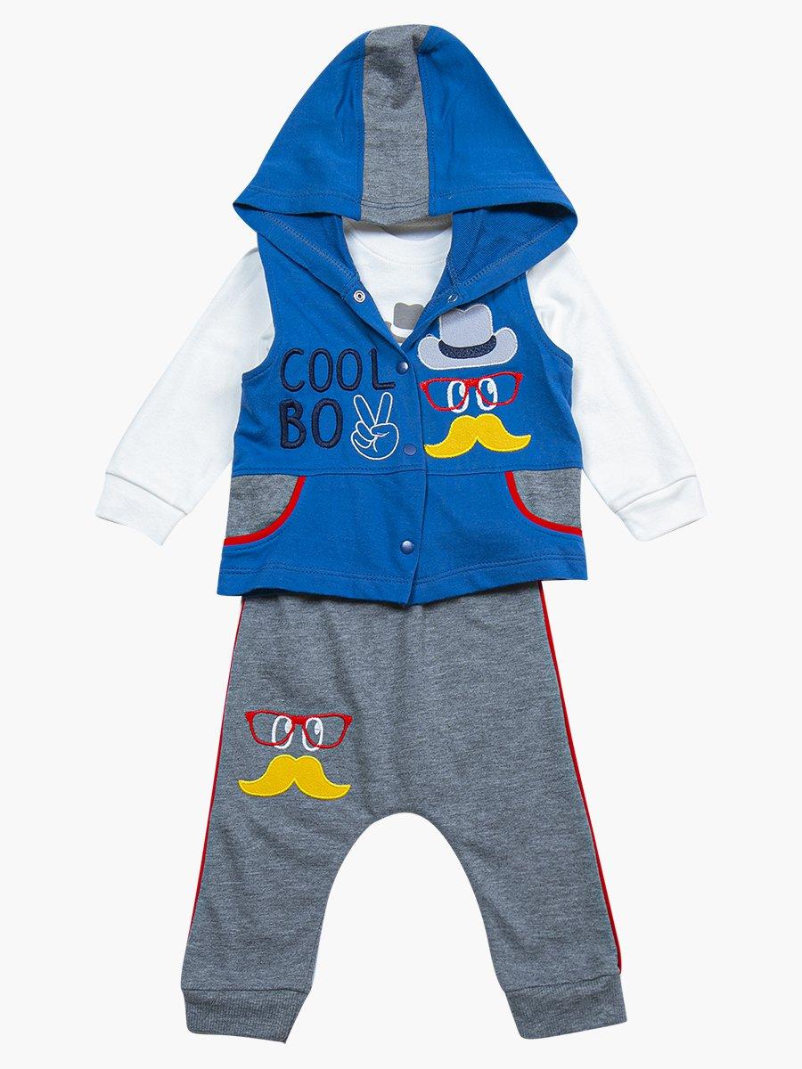 Комплект для мальчика: лонгслив, штанишки и жилет, цвет: деним