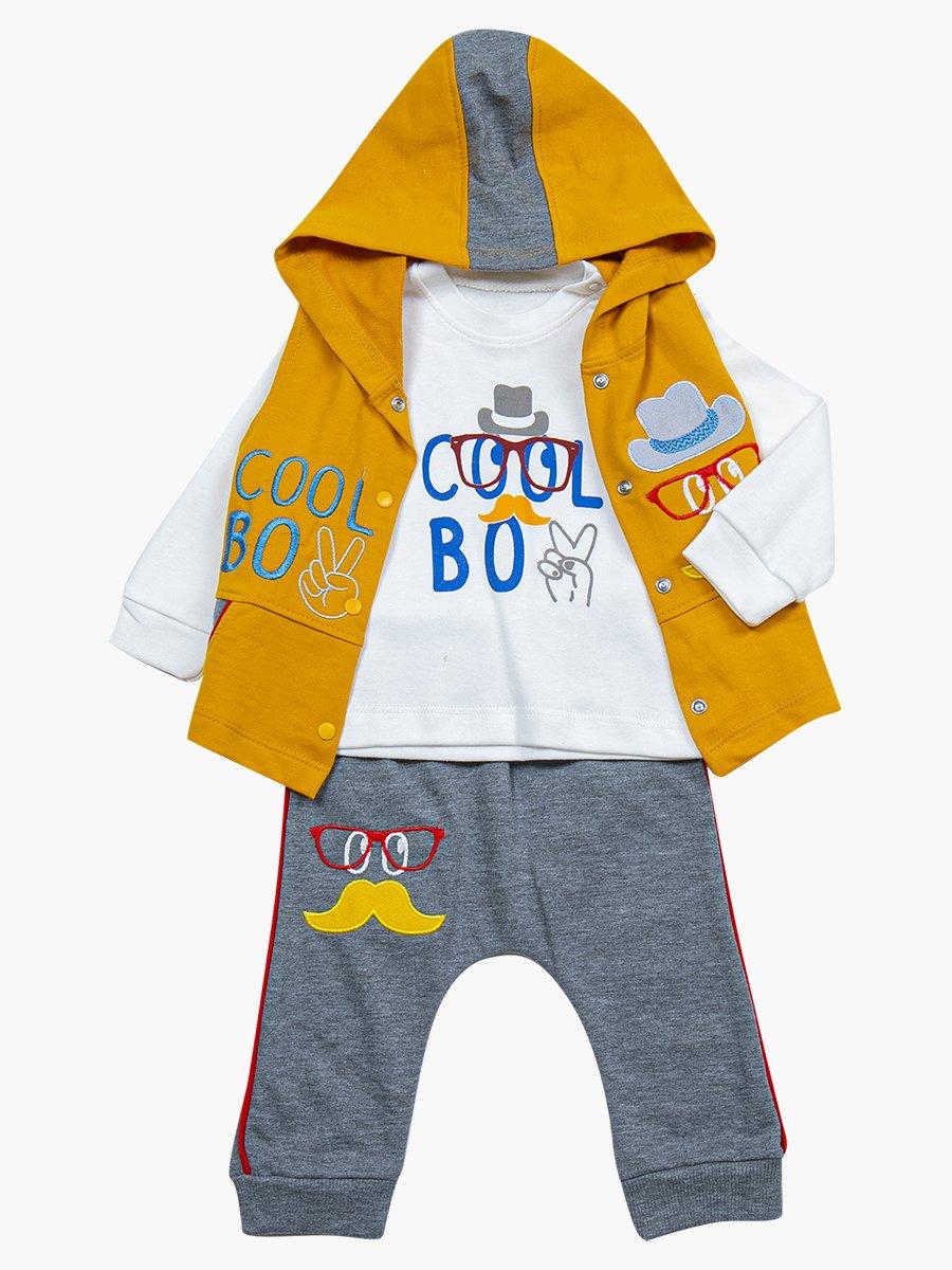 Комплект для мальчика: лонгслив, штанишки и жилет, цвет: горчичный