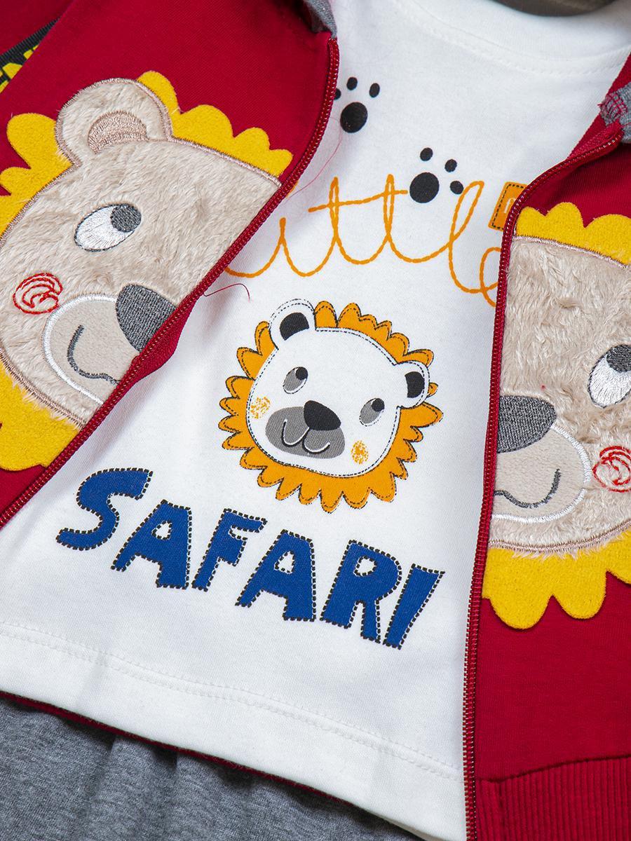 Комплект для мальчика: лонгслив, толстовка и штанишки, цвет: бордовый