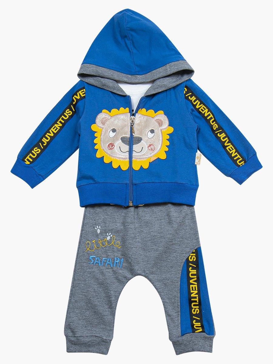 Комплект для мальчика: лонгслив, толстовка и штанишки, цвет: деним