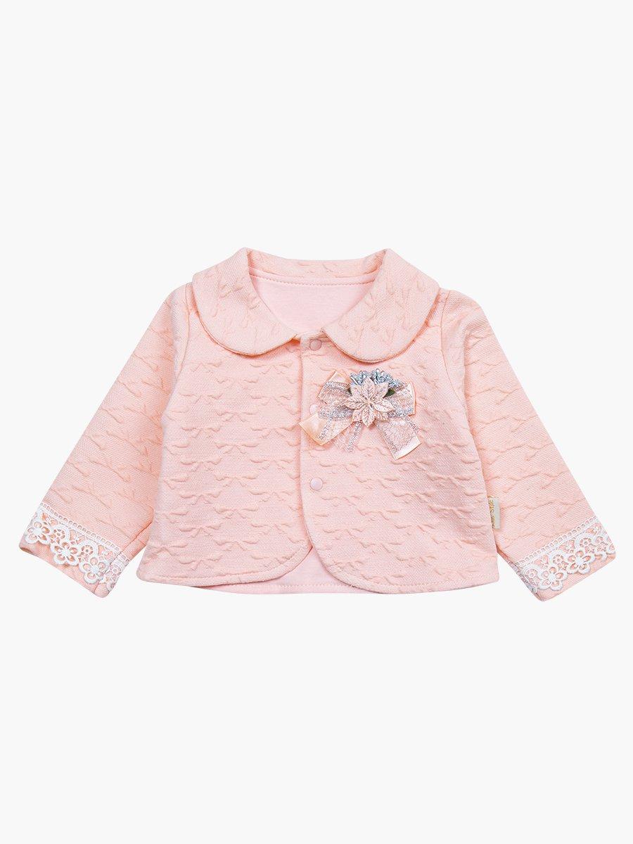 Комплект для девочки: лонгслив, штанишки и жакет, цвет: пудра